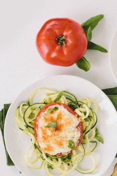 Basil Zucchini Spaghetti with Cheesy Broiled Tomatoes