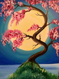 japanese spring painting easy blossom canvas cherry watercolor moonlight paintings paint sip drawing tree abstract examples