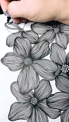 Doodle Art Drawing, Mandala Drawing, Flower Doodle Art, Painting & Drawing, Black Pen Drawing, Mandala Doodle, Easy Doodle Art, Zentangle Drawings, Flower Doodles