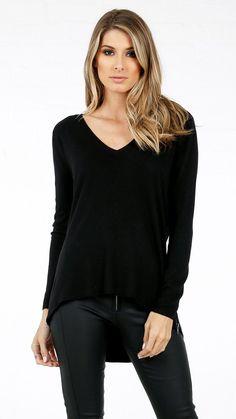 ANGL   Zipper Side V Neck Soft Sweater