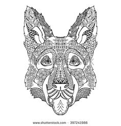 Zentangle stylized doodle vector drawing of german shepherd dog head. Illustration isolated on white. Animal ethnic print fits as tattoo or logo template, decorative element or coloring book sketch.