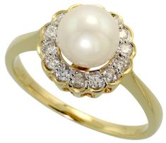 Flower White Pearl & Diamond Engagement Ring - Here comes an amazing Flower White Pearl & Diamond Engagement Ring stamped in 14k Yellow Gold featuring a Round White Pearl atop of the ring surrounded by 14 White Round Brilliant accent stones on the Halo style shank. The 10mm Flower Pearl ring's total gem weight is equal to .24 carats. #unusualengagementrings
