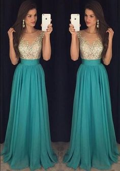 Elegant A Line Beading Illusion Scoop Neckline Prom Dress Floor Length Blue Evening Dress