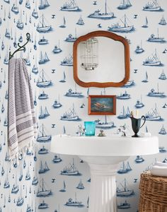Our Ahoy! (Navy) wallpaper pattern is digitally printed in Chicago on PVC-free pre-pasted paper and manufactured in the USA. Our high-quality, designer wallpaper is extremely durable. Coastal Wallpaper, Nautical Wallpaper, Navy Wallpaper, Unique Wallpaper, Bathroom Wallpaper, Home Wallpaper, Pattern Wallpaper, Wallpaper Ideas, Hygge And West