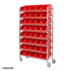 Mobile Chrome Slanted Bin Kits - Parts Bins Storage Rack from BiGDUG UK