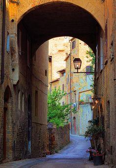 Archway in San Gimignano, Tuscany Italy