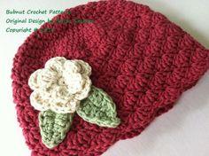crochet popcorn stitch hat pattern | Crochet Hat Pattern - Shell Stitch Cap Crochet ... | Crochet Scarves ...