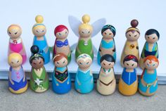 14 small wooden princess peg dolls / cake toppers -- etsy: anrcdb2006