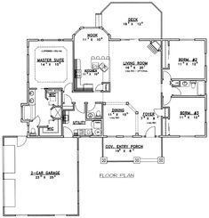 First Floor Plan of Ranch   House Plan 87177
