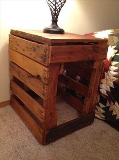 wood pallets ideas | Multi Pallet Nightstand Purpose Used Wood | Pallet Furniture Ideas