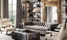 20 Amazing Living Rooms Inspired by Restoration Hardware Do you want the best of both words? These 20 amazing living rooms inspired by Restoration Hardware are the perfect mix of class and relaxation. Living Room Mirrors, Coastal Living Rooms, Living Room White, Living Room Grey, Living Room Sofa, Living Room Interior, Living Room Furniture, Living Room Decor, Chesterfield Living Room