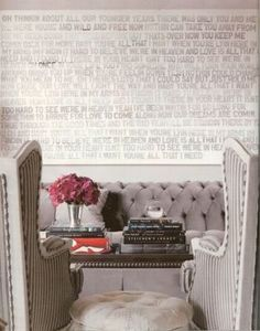I love this. I love the word art on the wall! I love gray and pink. I love tufted furniture.