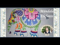 Mandala embroidered step by step N ° 4 ♥ Elephant ♥ Mexican Embroidery ♥ Part 3 / . Mexican Embroidery, Step By Step Drawing, Decorative Plates, Elephant, Watercolor, Drawings, Crafts, Youtube, Animals