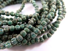 50 Melon Czech 3mm Turquoise Bronze Opaque Ribbed Round Green Glass Picasso Beads 3mm - 50 pc - G6088-TBP50 by allearringsandsuppli on Etsy