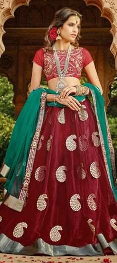 BRIDAL WEAR - embellished with pearl #paisley designs.   Order at INR 4,800 only + free shipping worldwide. #Lehenga #lace #oxblood #indianwedding