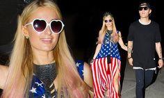 Paris Hilton rocks American flag dress at Ibiza party | Daily Mail Online