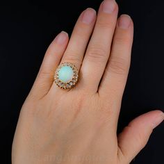 Victorian Opal Diamond Cluster Ring | From a unique collection of vintage cluster rings at https://www.1stdibs.com/jewelry/rings/cluster-rings/