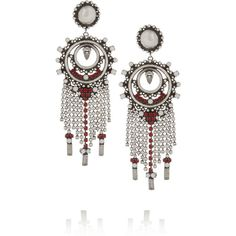 DANNIJO Vitula oxidized silver-plated Swarovski crystal earrings ($610) ❤ liked on Polyvore featuring jewelry, earrings, dannijo, burgundy, swarovski crystal earrings, swarovski crystal jewellery, hand crafted jewelry and fringe jewelry