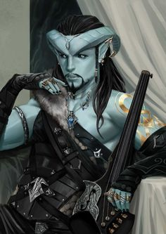 male, blue skinned Tiefling Bard Med Armor Bracers Cloak Lute Necklace tavern urban city hilvl DnD / Pathfinder gold and black tattoos