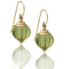 Green Amber Earrings – Alix & Company - Delicate carved amber drops with diamond micro pavé. Eighteen karat gold.