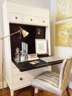 alice lane home collection | cream secretary, gold task lamp, mirrored tray, watercolor artwork, allegra hicks, thomas o'brien, gold leafed artwork