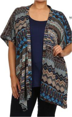 Knit Kimono Top & Tank 2pc-Plus Size-Navy Brown – Debra's Passion Boutique