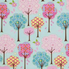 Dena Fishbein - Pretty Little Things - Trees in Blue    Amazing. End of story. I need this.  I will definitely be making a crib bedding set to sell from this collection of fabrics.