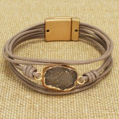 Popular New Style! Druzy Bracelets are trending and make perfect gifts! Size of Druzy Leather Bracelet: 0.6H, Magnetic Closure