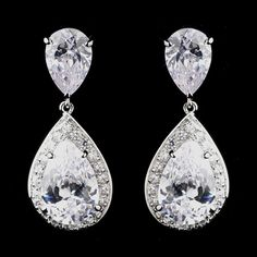 Antique Silver Teardrop CZ Wedding Earrings - add sparkle to your wedding day! affordableelegancebridal.com