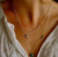 Trendy Gold Hamsa Fatima Hand Evil Eye Turquoise Three Layers Necklace Body Jewelry