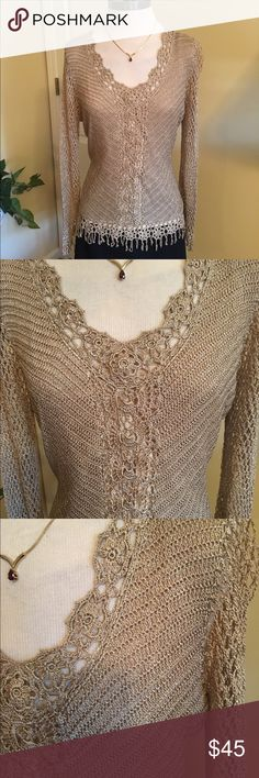 V Christina Crocheted Gold Metallic Tunic This is a stunning piece for the upcoming Holidays! By V Christina in gold crochet. Fully separate camisole included. Tunic length hits mid hip. Tag says size XL but this fits medium or slender large frame. Worn only twice. Great condition. V Christina Tops Tunics
