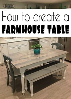 Turn your old or outdated kitchen table into a new farmhouse style kitchen table with this DIY from CrazyDiyMom. Diy Home Decor Projects, Diy Wood Projects, Furniture Plans, Home Furniture, Farmhouse Kitchen Tables, Mirrored Furniture, Home Improvement Projects, Remodeling, Diys