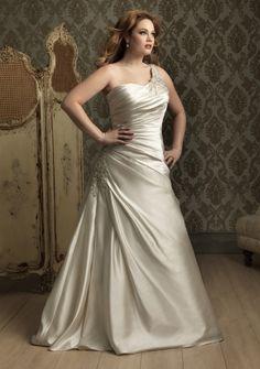A-line One Shoulder Chapel Train in Satin Plus Size Wedding Dress