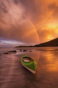 Canoeing, Rocky Cape, Tasmania, Australia at sunset. #travel #kayak