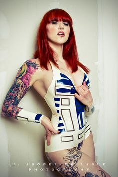 Latex Rubber Star Wars R2D2 Inspired Bodysuit.