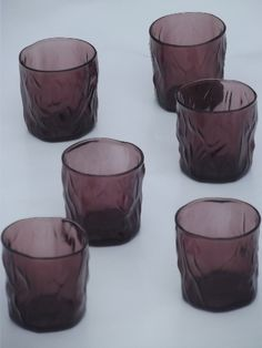 Driftwood crinkled  glass tumblers, amethyst purple old-fashioned glasses