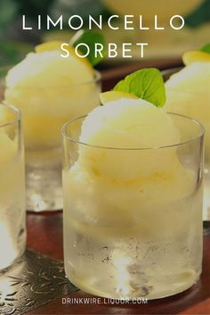 Learn How to Make Your Own Limoncello Sorbet! The classic Italian lemon liqueur makes a delicious frozen treat that is perfect to eat year-round! (How To Make A Frozen Cake) Frozen Desserts, Frozen Treats, Just Desserts, Dessert Recipes, Frozen Cake, Lemon Desserts, Lemon Recipes, Ice Cream Recipes, Italian Ice