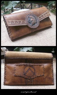"""""""Leonidas Helm""""  Leather Tobacco Pouch  King's Leonidas Helm formed on cooper oxidized metal. Pouch is leather worked with antic finish. Meander design is made with pyrography."""