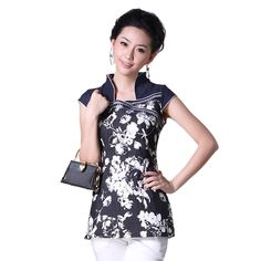 Chinese fashion and styles. Attractive White Flowers Open Neck Shirt - Chinese Shirts & Blouses - Women