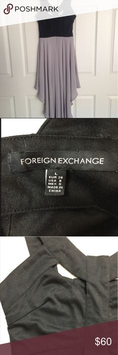 Gorgeous foreign exchange cut-out high low dress Gorgeous foreign exchange cut-out high low dress in black and grey (shown in pictures) only worn a few times in great condition ??#reverse #foreign exchange #urban outfitters ?? foreign exchange Dresses High Low