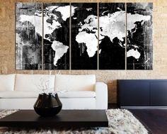 Grayscale WORLD MAP Canvas Art Print - Black White Watercolor World Map 5 Piece Canvas Art Print - Ready to Hang - Colorful World Map