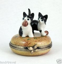 New Cat Authentic French Limoges Box 2 Cute Kitty Cats Kitten Playing w Ball | eBay