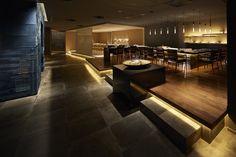 Hilton Tokyo Tsunohazu restaurant by NAO Taniyama & Associates, Tokyo – Japan Modern Japanese Interior, Japanese Modern, Restaurant Design, Restaurant Bar, Hats In The Belfry, Rustic Wood Floors, Dinner Room, Hotel Architecture, Asian Restaurants