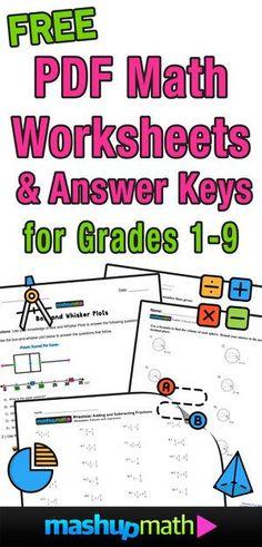 8th Grade Math Worksheets, Free Printable Math Worksheets, Sixth Grade Math, Homeschool Worksheets, Homeschool Math, Eighth Grade, Grade 2 Maths, 8th Grade Math Problems, Free Fraction Worksheets
