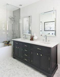 Welcoming Utah residence boasts astounding views of Mount Timpanogos Cheap Bathroom Vanities, Cheap Bathrooms, Bathroom Red, Bathroom Ideas, Brick Bathroom, Glass Bathroom, Bathroom Inspiration, Transitional Living Rooms, Transitional Kitchen