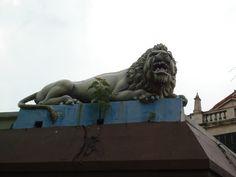 Frightening lion atop building - Singapore