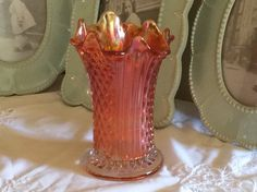 Marigold Carnival Glass Vase by TahoeTonyas on Etsy
