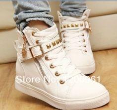 vendas de novos 2014 borracha natural calçados femininos cunha tênis casuais, skate sapatos botas femininas doces- padrão colorido 23.40 - 23.99