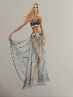 Sheer drape with stripes rendering2 by Leah Won