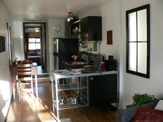 inside a shipping container home, made from only one container